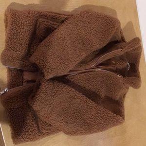 A trendy cute fluffy jacket. Brown